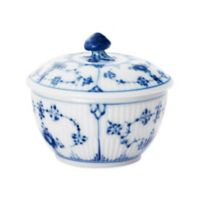 Royal Copenhagen Fluted Plain Covered Sugar Bowl in Blue