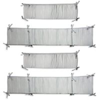 Wendy Bellissimo™ Dotted Stripe 4-Piece Crib Bumper in Grey/White