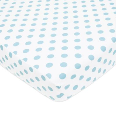 tl care cotton percale polka dot fitted crib sheet in blue
