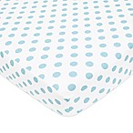 TL Care® Cotton Percale Polka Dot Fitted Crib Sheet in Blue