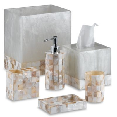 Buy white toothbrush holder from bed bath beyond - Capiz shell bathroom accessories ...