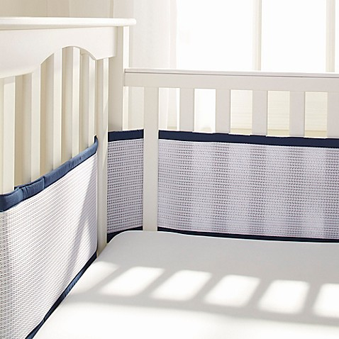 Breathable Baby 174 Deluxe Breathable Mesh Crib Liner In Navy