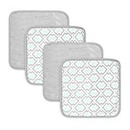 Just Bath™ by Just Born® Luxury Bath 4-Pack Geometric Print Washcloths in Blue/Grey