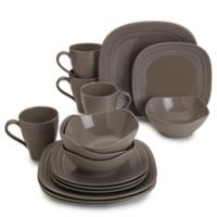 Mikasa® Swirl Square 16-Piece Dinnerware Set in Mocha
