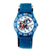 Marvel Children's 32mm Captain America Time Teacher Watch in Plastic with Blue Nylon Strap