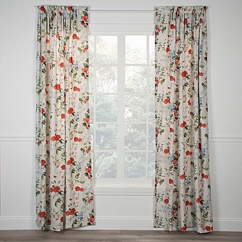Botanical Floral Rod Pocket Window Curtain Panel Bed