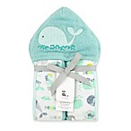 Just Bath by Just Born™ Size 0-9M Under the Sea Hooded Towel Wrap in Sea Glass