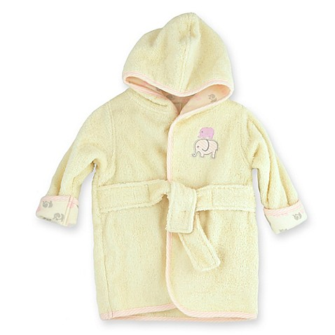 Just Bath™ by Just Born® Size 0-9M Elephant Organic Cotton Robe in Cream/Pink