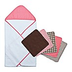 Trend Lab® 6-Piece Cocoa Coral Hooded Towel and Washcloth Set in Coral Dot