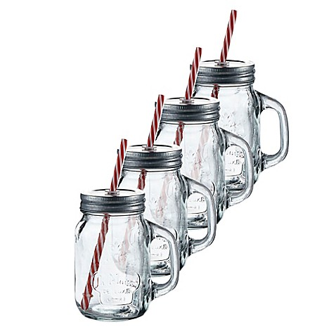 buy la maison mason jar mug with lid and straw from bed bath beyond. Black Bedroom Furniture Sets. Home Design Ideas