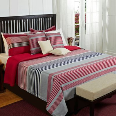 Marvelous Stripical Mismash Queen Coverlet Set In Red