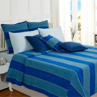 Optical Harmony Queen Coverlet Set in Blue