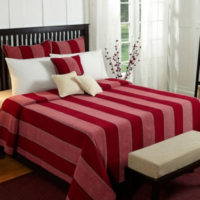 Optical Harmony Queen Coverlet Set In Red
