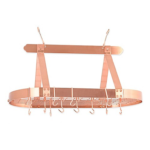 Old Dutch International Hanging 16 Hook Pot Rack In Satin Copper Bed Bath
