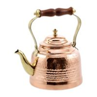 Old Dutch International 2 qt. Hammered Tea Kettle in Copper with Wooden Handle and Brass Spout