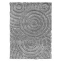 Linon Home Links Circles 1-Foot 10-Inch x 2-Foot 10-Inch Shag Accent Rug in Grey