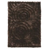 Linon Home Links Circles 1-Foot 10-Inch x 2-Foot 10-Inch Shag Accent Rug in Chocolate
