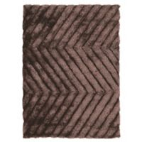 Linon Home Links Zig-Zag 1-Foot 10-Inch x 2-Foot 10-Inch Shag Accent Rug in Chocolate