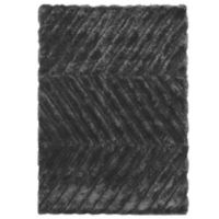 Linon Home Links Zig-Zag 1-Foot 10-Inch x 2-Foot 10-Inch Shag Accent Rug in Charcoal