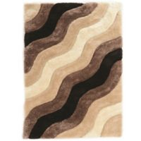 Linon Home Links Wave 5-Foot x 7-Foot Shag Area Rug in Brown
