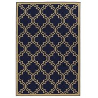 Linon Home Innovations 6-Foot 6-Inch x 9-Foot 6-Inch Reversible Indoor/Outdoor Rug in Navy