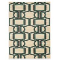 Linon Home Roma Collection Bridle 2-Foot x 3-Foot Rug in Beige/Turquoise/Grey