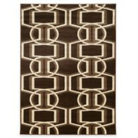 Linon Home Roma Collection Bridle 5-Foot 3-Inch x 7-Foot Rug in Chocolate/Beige/Brown