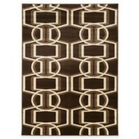 Linon Home Roma Collection Bridle 8-Foot x 10-Foot Rug in Chocolate/Beige/Brown