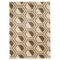 Linon Home Roma Collection Comb 5-Foot 3-Inch x 7-Foot Rug in Ivory/Beige