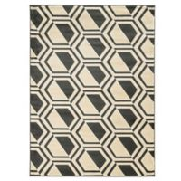 Linon Home Roma Collection Comb 5-Foot 3-Inch x 7-Foot Rug in Grey/Charcoal