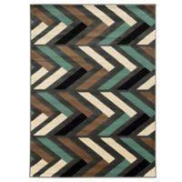 Linon Home Roma Collection Herringbone 5-Foot 3-Inch x 7-Foot Rug in Grey/Turquoise