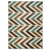 Linon Home Roma Collection Herringbone 5-Foot 3-Inch x 7-Foot Rug in Ivory/Turquoise