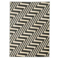 Linon Home Zigzag 2-Foot x 3-Foot Rug in Charcoal/Grey
