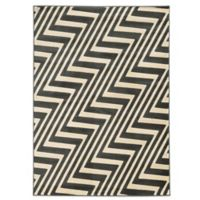 Linon Home Zigzag 5-Foot 3-Inch x 7-Foot Rug in Charcoal/Grey