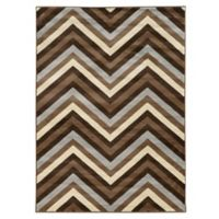 Linon Home Roma Collection Chevron 2-Foot x 3-Foot Rug in Chocolate/Beige
