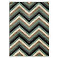 Linon Home Roma Collection Chevron 5-Foot 3 Inch x 7-Foot Rug in Ivory/Turquoise