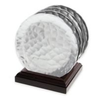 Wendell August Waterfall Aluminum Coaster Set with Wood Caddy