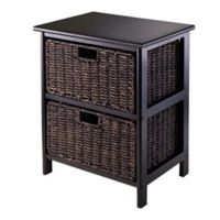 Winsome Trading Omaha Storage Rack with 2 Baskets in Black/Chocolate