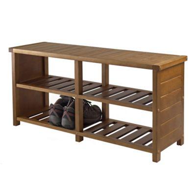 Winsome Trading Keystone Shoe Storage Bench In Teak