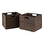 Winsome Trading Granville Small Foldable Corn Husk Baskets in Chocolate (Set of 2)