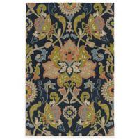 Kaleen Home & Porch Damask Floral 3-Foot x 5-Foot Indoor/Outdoor Rug in Navy