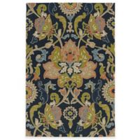 Kaleen Home & Porch Damask Floral 7-Foot 6-Inch x 9-Foot Indoor/Outdoor Rug in Navy
