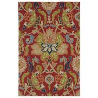 Kaleen Home & Porch Damask Floral 3-Foot x 5-Foot Indoor/Outdoor Rug in Red
