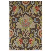 Kaleen Home & Porch Damask Floral 5-Foot x7-Foot 6-Inch Indoor/Outdoor Rug in Chocolate