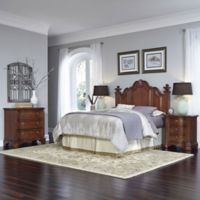 Home Styles Santiago 4-Piece Queen/Full Headboard, Nightstands, and Drawer Chest Set