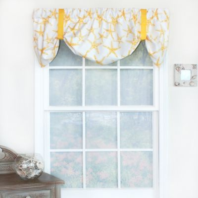 Amazing RL Fisher Cotton Ocean Star Tie Up Window Valance In Yellow