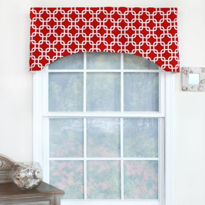 High Quality RL Fisher Chained Arch Window Curtain Valance In Red