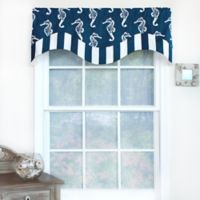 RL Fisher Sea Horse Double Layer Valance in Navy