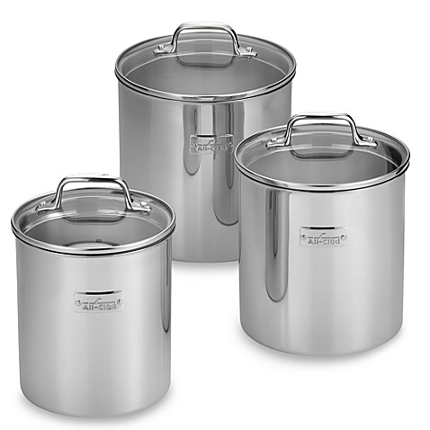 All Clad Food Canisters Set Of 3 Bed Bath Amp Beyond