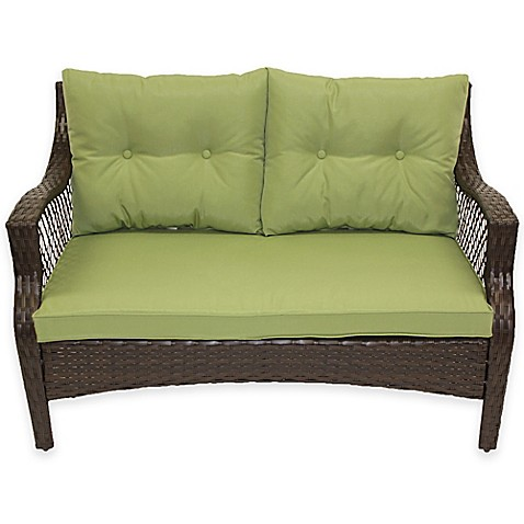 buy stratford 3 piece outdoor replacement loveseat cushion set in lime from bed bath beyond. Black Bedroom Furniture Sets. Home Design Ideas